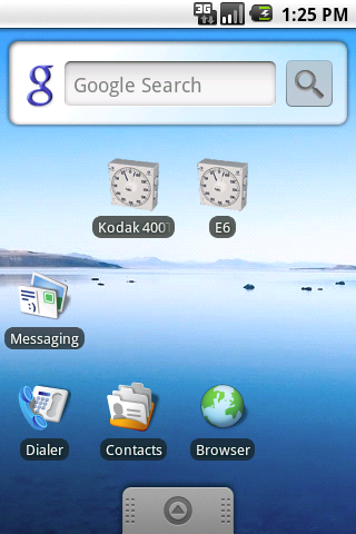 Screenshot: Home Screen with Shortcuts