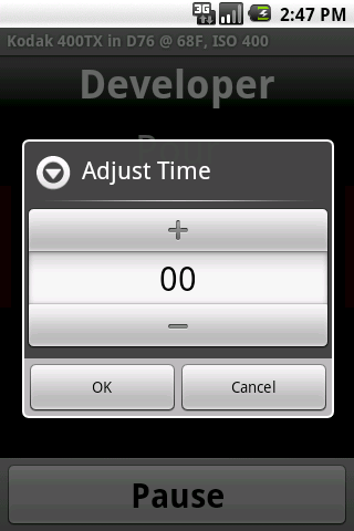 Screenshot: Adjust Running Timer