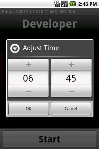 Screenshot: Adjust Stopped Timer