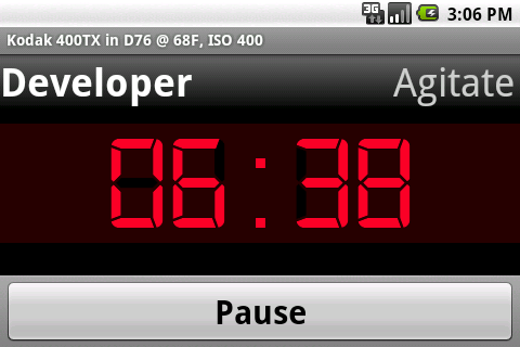 Screenshot: Timer Screen: Landscape Mode